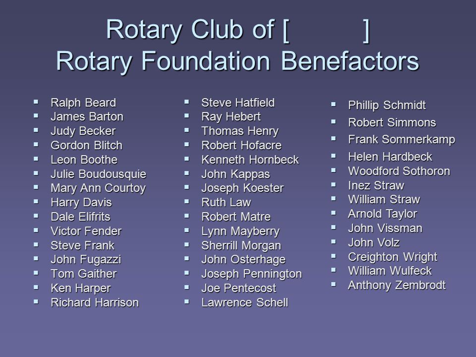Rotary Club of [ ] Rotary Foundation Benefactors